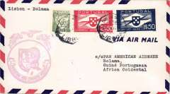(Portugal) F/F FAM  18 Southern Atlantic Route, alternate return via Poruguese Africa and The West Indies, Lisbon to  San Juan, magenta cachet, b/s, Pan Am