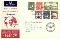 (Pakistan) F/F Comet 1, Karachi to London, official cover, b/s,BOAC