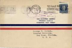 (Cuba) F/F FAM 4 Resumed Service, Havana to Key West, bs 29/10, violet cachet, Pan Am