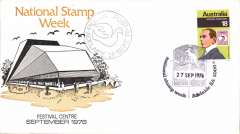 (Australia) Adelaide Stamp Week, souvenir pigeon post flimsy and pictorial envelope, Eu PP12