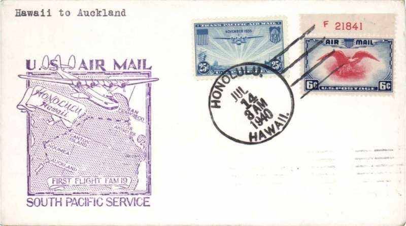 (New Zealand) F/F FAM 19, to Auckland from Honolulu, cachet, bs, Pan Am,
