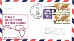 (United States) F/F FAM 18, New York AMF to Entebbe, cachet, b/s, Pan Am