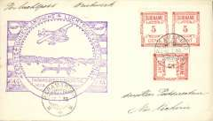 (Surinam) F/F Paramibo to Nickerie, b/s, large violet flight cachet, Pan Am. Carried by Consolidated C16 flying boat.