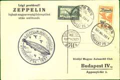 (Airship) Hungary Round Flight, printed souvenir card, franking inc. 1P Zeppelin stamp canc Budapest cds, also Budapest arrival ds, blue flight cachet, Sieger 102Aa (150 Euro).