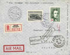 (Finland) F/F Helsinki-Amsterdam, b/s, and on to Paris, 21/7 transit cds, special depart cancel, reg (label) cover, Aero A/Y.