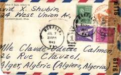 (United States) World War II censored air cover, New York to Algeria, no arrival ds, franked 33c, sealed US EB 6116 (New York) censor tape, Pan Am FAM18 Southern North Atlantic route to Lisbon. Trimmed lh edge and Lower lh corner nibble.