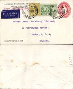 "(Australia) Direct airmail to England, from Melbourne to London, no arrival ds, franked 2dPSE with additional 1/- & 4d to cover carriage by air 'all the way', typed endorsement ""Direct Mail"", arrived Croydon 17/11. Internal Melbourne-Brisbane, then IAW IW494 to London. Faint ironed vertical crease."