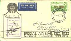 """(New Zealand) First accept New Zealand mail for Kenya carried by air on the inaugural airmail Auckland to Invercargill service, bs Invercargill 12/12, then by sea to India and on to Nairobi, bs 20/1, franked 5d air, violet boxed cachet """"By Air mail/Auckland/Invercargill/Faith in Australia"""", printed black/white 'Faith in Australia' souvenir cover with CTP Ulm inset and addressed to H Tunstall."""