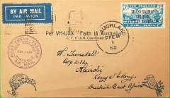 "(New Zealand) First official mail, New Zealand to Australia, bs Sydney 17/2 , and on to Nairobi, franked 7d ""Trans Tasman"" opt, special ""First trans Tasman"" cachet, Kiwi cover addressed to H Tunstall."