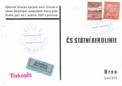 (Czechoslovakia) Ceskoslovenske Letecka Spolecnost (CSA), F/F Zlin-Brno, arrival ds on front, souvenir PPC showing one day connections from zlin.