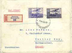 (Czechoslovakia) Bergesgrun to England, bs 8/11, early registered (label) cover, franked 30K, white/blue Par Avion etiquette.