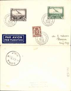 (Belgian Congo) Likely first SABENA through service, Brussels to Boma, bs 9/8, plain cover mailed by Charles Van Der Haeghen, franked 3.50air+30c ordinary, dark blue/white etiquette. Thought to be the first through service to Boma by Sabena.