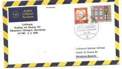 (Germany) Lufthansa F/F B727, Dusseldorf-Barcelona, b/s, special cancellation, souvenir cover.