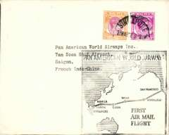 (Singapore) Pan Am, F/F FAM 14, Singapore to Saigon (French Indo-China), cachet, b/s.