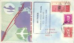 (Spain) First direct flight, B707, Rio to Madrid, black cachet, no arrrival ds, attractive illustrated souvenir cover, Air France.