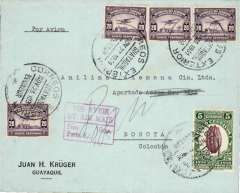 "(Ecuador) Panagra, flown commercial corner cover, Guayaquil to Bogota, bs 28/11, via Buenaventura, violet boxed 24 Nov 1931 transit, franked 85c, fine strike boxed red ""Por Avion/By Air Mail/Peso/Porta S/ (ms 0.5) Gms"", typed 'Par Avion'. Flown by Panagra.  Economic conditions, and competition from Panagra, forced SCADTA to close its Ecuador service on Dec 28th, 1930."