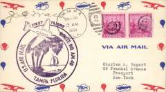 (United States Internal) F/F USAM40 out of Tampa, cachet, signed by ?pilot J.C.Wall.