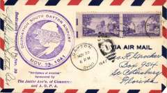 (United States Internal) Dedication South Dayton Airport, large violet cachet, signed by pilot Lt. Gerald Chatterton.