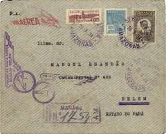 (Brazil) Opening up the Amazon, Panair Do Brasil, F/F Manaos-Belem, bs 28/10, official winged flight cachet, front and verso, grey registered air cover franked 11000R.