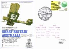 (Australia) RAF competitor in 50th anniversary F/F GB-Australia, official RAF souvenir cover flown via Cyprus 12/11, Bahrain 13/11, Calcutta 13/11 and Darwin 16/11.