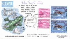 (Pakistan) Karachi-Melbourne, b/s, 50th anniversary souvenir cover issued by a country flown en route to Australia during 1919 Ross Smith flight, signed N. Eustis.
