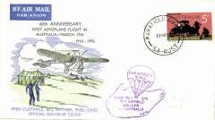 (Australia) 60th anniversary first powered aero plane flight in Australia, souvenir cover of parachute drop at Bolivar.