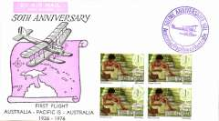 (Australia) 50th anniversary Melbourne-Pacific Islands, souvenir cover, guaranteed flown from Papua New Guinea by AAMC, flight vignette, cachets, facsimile signature of both pilots.