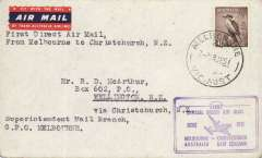 (Australia) First direct airmail, Melbourne-Christchurch, No service, bs 29/6, official cachet, cream/brown souvenir cover, franked 6d, TEAL.