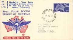 (Australia) Souvenir cover flown to Brisbane on FDI 7d Flying Doctor Service. Eus. 1377.