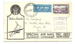 (New Zealand) First Non Stop Auckland to Invercargill, franked 1931 5d/3d surch, violet boxed cachet, b/s, printed souvenir cover with CTP Ulm inset, two small ink smudges not affecting stamp or cachet