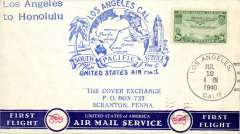 (United States) F/F FAM 19  FAM South Pacific Service inward to Honolulu from Los Angeles, cachet, b/s, plain cover, Pan Am