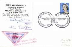 (Australia) 50th anniversary 1917 Adelaide-Gawler air mail, replica card with picture of Carey in Bleriot 60 verso, signed by pilot N.S.D.Buckleyand Nelson Eustis. AAMC 1619.