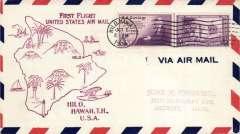 (Hawaii) First Inter Island service, AM #33, flown out of Hilo, magenta Hilo cachet.