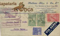 (Brazil) Panair do Brasil, F/F Manus-Rio Branco, no arrival ds, large red flight cachet, attractive Matheus Silva printed commercial cover, 4mm trim lh edge.