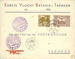 (Netherlands East Indies) KNILM F/F Balkipan to Tarakan, violet rectangular and circ cachets tying KLM etiq, b/s 9/1.
