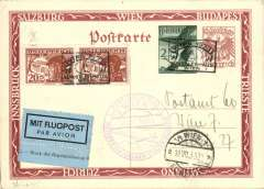(Austria) WIPA round trip glider flight, Vienna to Vienna, 19/7 arrival ds on front, 2S+30G light brown border PSC with additional 20gx2 1925 airs, tied special cancellation,  violet commemorative cachet, blue/black etiquette, verso picture Kronfeld's glider over Stephan's Cathedral.