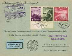 (Austria) Glider Air Train, Vienna-Budapest, arrival ds on front and b/s, cachet, blue/black etiquette.
