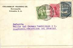 "(Colombia) SCADTA incoming mail from Colombia to Ecuador, bs very scarce SCADTA ""Servicio de Transportes Aereo Guayaquil"" cds, Colombian Trading Co corner cover franked 30c SCADTA + 3c Colombia, canc Barranquilla cds. This back stamp is rarely found on a genuine commercial cover."
