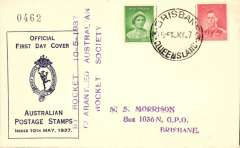 (Australia) Coronation Rocket firing, government official cover, franked 1d and 2d, violet three line flight cachet. Eus R11.
