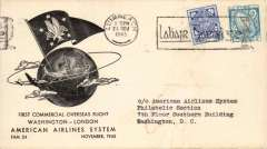 (Ireland) F/F FAM 24, Shannon to Washington, b/s, printed company cover, large boxed flight cachet verso, American Overseas Airlines,