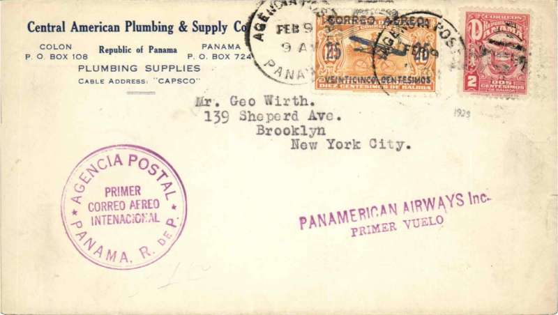 (Panama) Inaugural FAM 5, Panama to Miami, franked 2c National + 25c air,canc Agencia Postal Panama cds, violet two line 'Panamerican Airways Inc/Primer Vuelo' and double ring F/F cachets,flight cachet.  Because USPOD had not authorised Panama mail it was neither backstamped at Miami, nor forwarded from there by domestic airmail. This notwithstanding, such mail is an imprtant part of FAM 5's inaugural history.