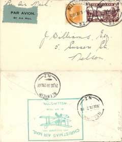 (New Zealand) NZ Air League, First New Zealand Official Christmas Air Mail, Wellington to Blenheim, bs 24/12, franked 3d air + 2d, lage green flight cachet verso.Christchurch to Timaru, bs, red cachet,