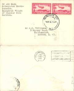 (New Zealand) Union Airways, F/F Palmerston North to Dunedin, bs 16/3, franked 2x 1d air.