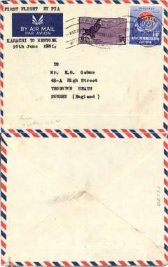 (Pakistan) Pakistan International Airlines, F/F Karachi-New York, typed endorsement, special dated 'Karachi-New York/July 16 1961' machine cancellation.