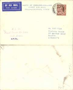 (GB External) KLM 7th GB Inland Airmail, Hull-Liverpool, KLM company 2/6/34 departure cachet on front, franked 1 1/2d, canc Hendon 4/7 cds, POA.  Carried by train to Liverpool.