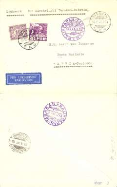 (Netherlands East Indies) KNILM F/F Takaran to Batavia, b/s11/1, violet cachet front and verso, plain cover.
