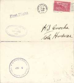 """(United States Internal) FAM 3 intended acceleration of mail to Honduras by overtaking mail at Pilottown, New Orleans to Tela, bs 5/9, franked 2c, canc Sep 5th, 11.30 am, violet oval """"Via Hydroplane Mail/New Orleans-Pilottown, LA/Too Late"""", also bears 'First Flight' cachet in error."""