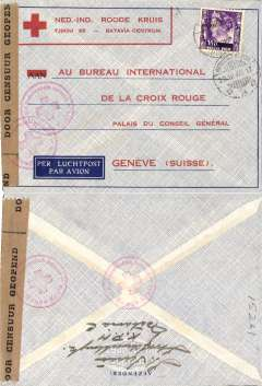 (Netherlands East Indies) World War II censored  printed Ned-Ind.Ruid Kruis (Red Cross) grey imprint etiquette air cover to Geneva, franked 35c canc Batavia Centrum cds, sealed NEI black/brown Door Censur Geopend censor tape, tied NEI Red Cross hs's front and verso.