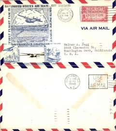 (United States) Scarcer Crosby cacheted Pan Am Trans-Pacific F/F FAM 19, San Francisco to Auckland, b/s, fine blue Crosby cachet, official flight cachet, airmail cover. Popular with collectors, but not easy to find.