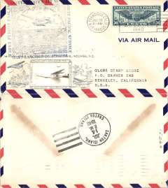 (United States) Scarcer Crosby cacheted Pan Am Trans-Pacific F/F FAM 19, San Francisco to Canton Island, b/s, fine silver Crosby cachet, official flight cachet, airmail cover. Popular with collectors, but not easy to find.